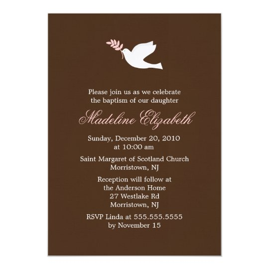 Pink Dove Christening Invitations