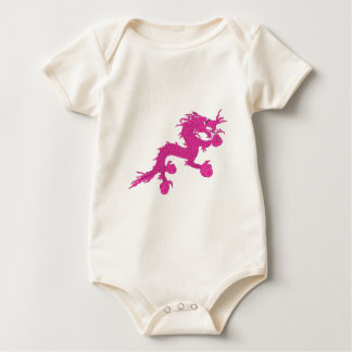 pink dragon baby bodysuit