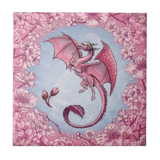 Pink Dragon of Spring Nature Fantasy Art Ceramic Tile