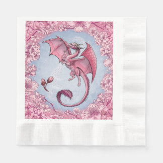 Pink Dragon of Spring Nature Fantasy Art Disposable Serviettes