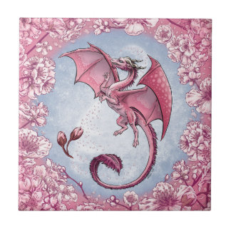 Pink Dragon of Spring Nature Fantasy Art Small Square Tile