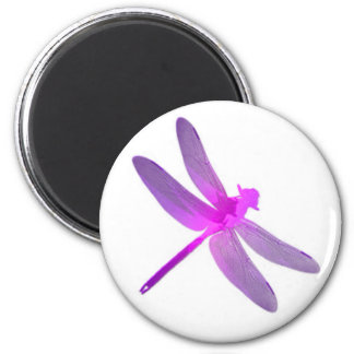 Pink dragonfly 6 cm round magnet