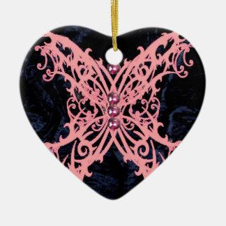 Pink Dragonfly/ Navy Velvet Design Ceramic Ornament