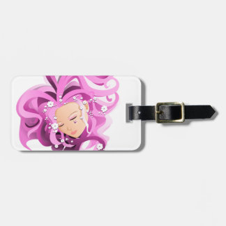 Pink drawing girl face with flowers -tag luggage tag
