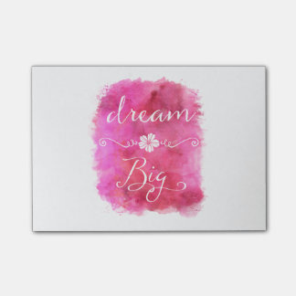 Pink Dream Big Inspirational Watercolor Quote Post-it Notes