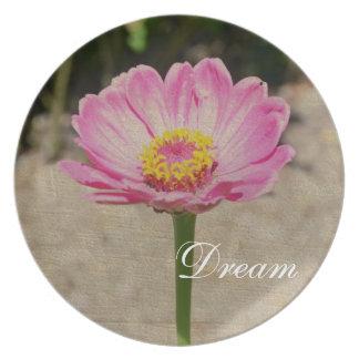 Pink Dream Zinnia Flower Plate