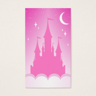 Pink Dreamy Castle In The Clouds Starry Moon Sky