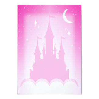 Pink Dreamy Castle In The Clouds Starry Moon Sky Card