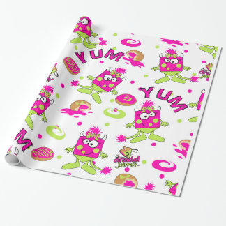 Pink Dreidel Monster Wrapping Paper