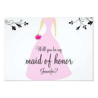 Pink Dress Maid Of Honor Invitation