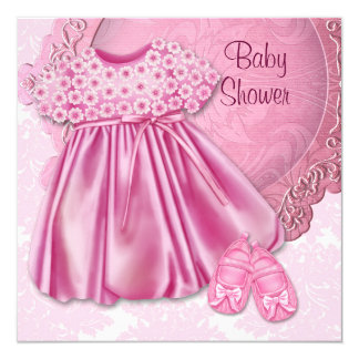 Pink Dress Pink Damask Baby Girl Shower Card