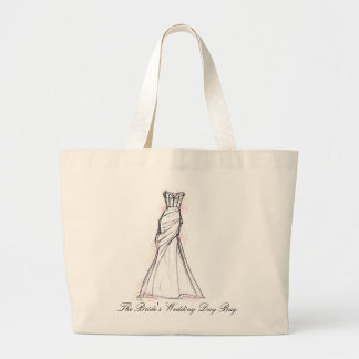 Pink Dress Wedding Day Large Tote Bag