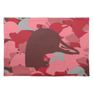 Pink duck head camo placemats