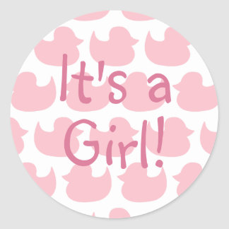 Pink Duck Pattern It's A Girl Classic Round Sticker