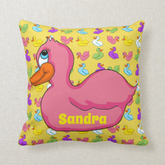 Pink Duck Square Pillow