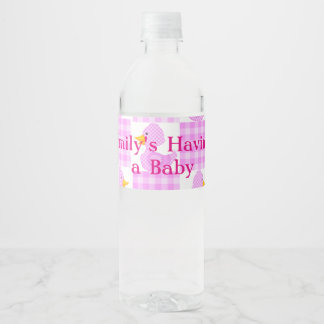 Pink Duckies Baby Shower Water Bottle Labels