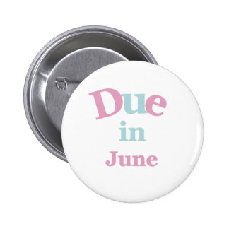 Pink Due in June 6 Cm Round Badge