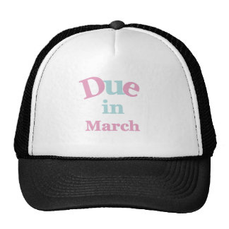 Pink Due in March Trucker Hats