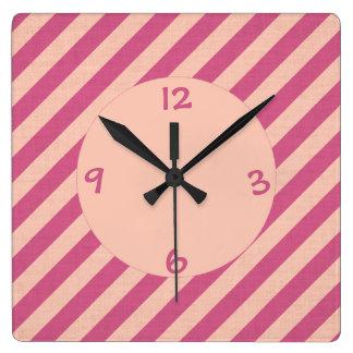 Pink Dusk and Fuchsia Stripes Wall Clock