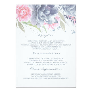 Pink + Dusty Blue Floral Wedding Information Guest Card