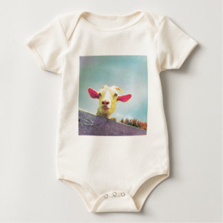 Pink-eared goat baby bodysuit