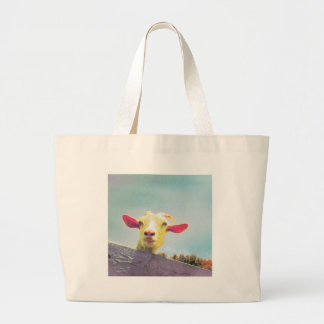 Pink-eared goat large tote bag