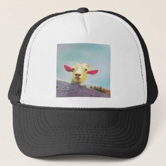 Pink-eared goat trucker hat