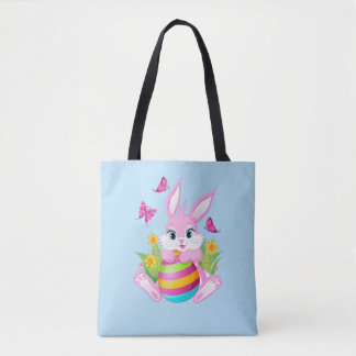 Pink Easter Bunny All-Over-Print Tote Bag