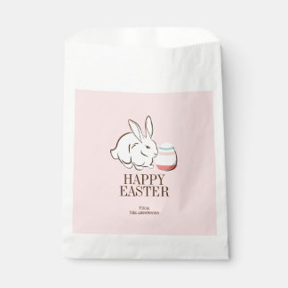 Pink Easter Bunny and Egg Happy Easter Favor Bags