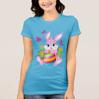 Pink Easter Bunny Blue T-Shirt