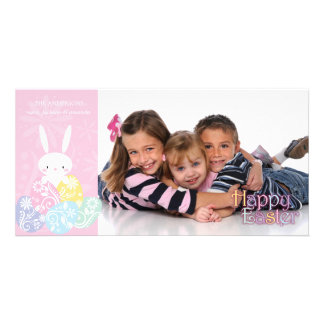 Pink Easter Bunny & Eggs Photo Card