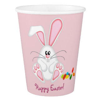 pink easter bunny paper cup
