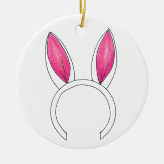 Pink Easter Bunny Rabbit Ears Ornament