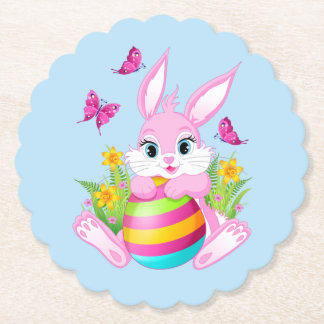 Pink Easter Bunny Scalloped Round Paper Coaster