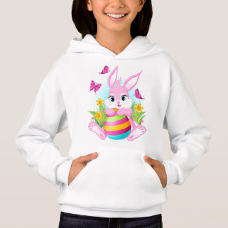 Pink Easter Bunny White Hoodie