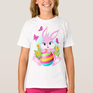 Pink Easter Bunny White T-Shirt