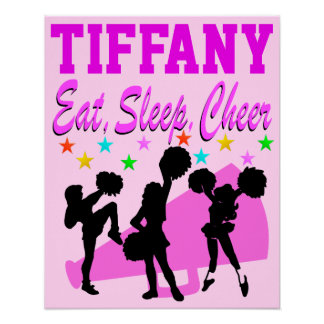 PINK EAT, SLEEP, CHEER PERSONALIZED POSTER