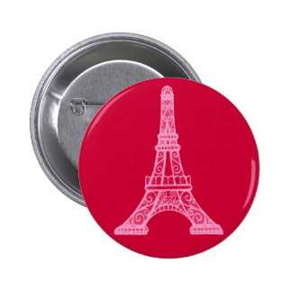 Pink Eiffel Tower 6 Cm Round Badge