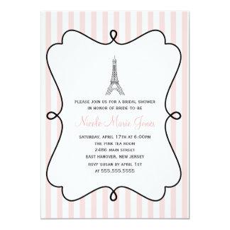 Pink Eiffel Tower Bridal Shower 13 Cm X 18 Cm Invitation Card