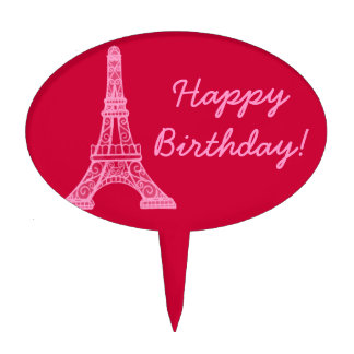 Pink Eiffel Tower Cake Toppers