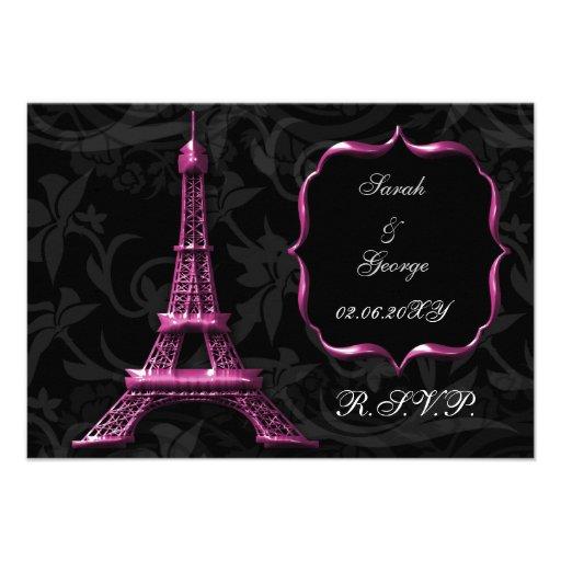 pink Eiffel tower french  rsvp standard 3.5 x 5 Custom Invitations