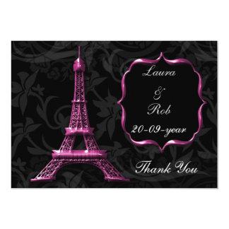 pink Eiffel tower French Thank You 13 Cm X 18 Cm Invitation Card