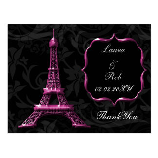 pink Eiffel tower French Thank You Postcard