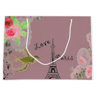 Pink Eiffel Tower Roses Gift Bag