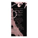 pink eiffel tower vintage paris wedding programs 10 cm x 23 cm rack card