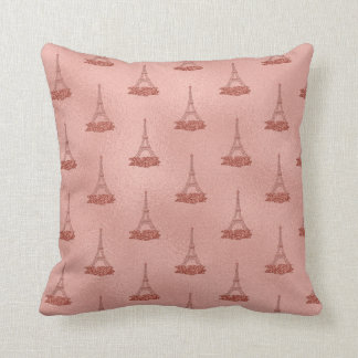Pink Eiffel Towers Pattern Girly Rose Gold Foil Cushion
