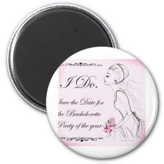 Pink elegant Bachelorette Party Design 6 Cm Round Magnet