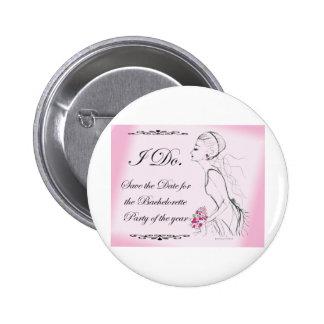 Pink elegant Bachelorette Party Design Pinback Buttons