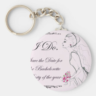 Pink elegant Bachelorette Party Design Basic Round Button Key Ring