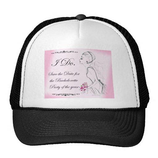 Pink elegant Bachelorette Party Design Mesh Hats